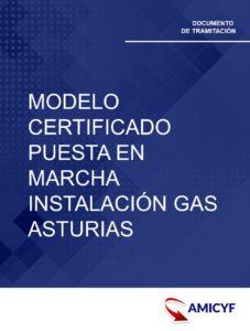 MODELO DE CERTIFICADO DE PUESTA EN MARCHA DE APARATOS DE GAS EN ASTURIAS.
